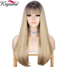 Парики kryssma из натуральных прямых волос длинные парики с
