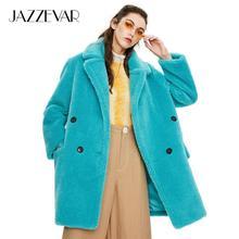 JAZZEVAR 2019 invierno nueva llegada abrigo de piel para mujeres de alta calidad de longitud media ropa de abrigo suelta abrigo de abrigo para mujeres K9052