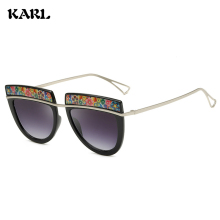 New Sunglasses Women Personality Big Box KARL Brand Designer Fashion Punk Color Border UV400