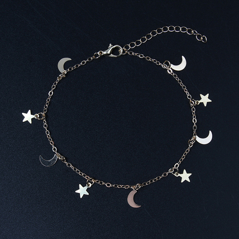 New Fashion Gold silver Moon Star Charms bracelet for Women Accessories Bracelets 4g 1