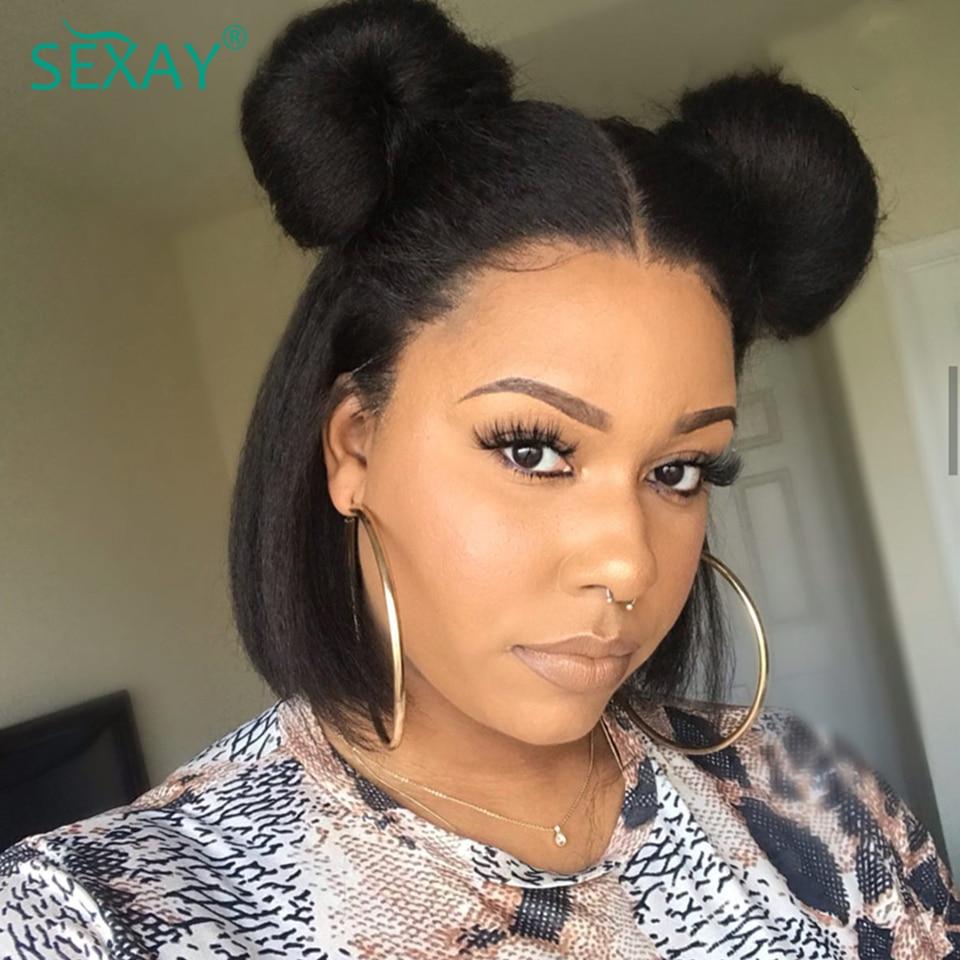Kinky Straight Short Bob Wig 13x4 Lace Front Human Hair Wigs For Black Women Blunt Cut Coarse Yaki 150% Peruvian Virgin Hair Wig