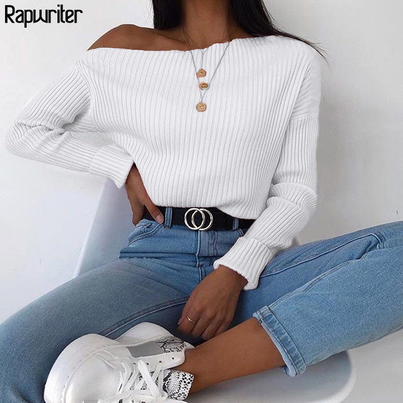 Rapwriter Off Shoudler Solid Ribbed Loose Knitted Sweater Women 2019 Streetwear Autumn Keep Warm Long Sleeve Pullover Top Winter
