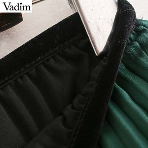 Image 3 - Vadim mujeres chic encaje patchwork chifón Falda plisada cintura elástica irregular diseño femenino casual verde faldas midi BA819