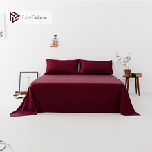 Liv-Esthete Wholesale 2019 100% Silk Wine Red Flat Sheet Silky Queen King Bed Sheets Pillowcase For Women Men Kids