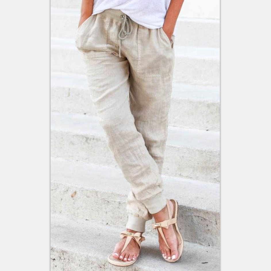 2018 Wheat Cai Ni New Style Hot Selling Europe And America Bandage Cloth Loose-Fit Pencil   Pants   Casual   Capri     Pants