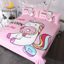 BlessLiving Cute Unicorn Kids Bedding Set Rainbow Hair Duvet Cover Colorful Pink Blue Girly Bedspreads Donuts Cartoon Bed