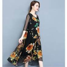 Boho Floral Printted Sommer Kleid 2020 Neue Plus Größe 3XL Harlf Hülse Lose Nationalen Stil Lange Kleider Sommerkleid Tops LX136(China)