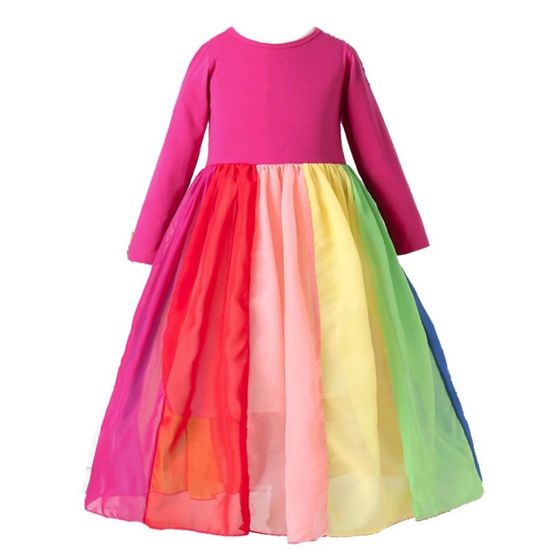 Ress da criança do bebê meninas manga longa arco-íris impressão tutu vestido roupas roupas infantil menina crianças vestidos para meninas vestidos 1-6y