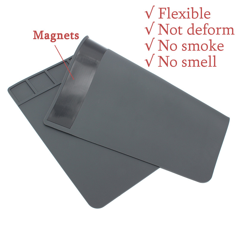 490x350x5mm Heat Insulation Silicone Pad Desk Mat Heat-resistant Maintenance Platform For BGA Soldering Phone PC Repair Station