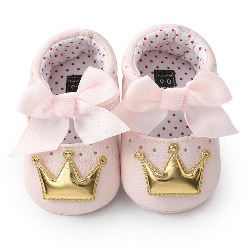 Fashion Toddler Crown First Walkers Baby Girl Shoes With Bowknot Soft Sole  Non-slip Fashion Bow Shoes Crib Shoes