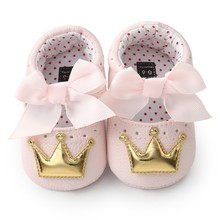 Fashion Toddler Crown First Walkers Baby Girl Shoes With Bow