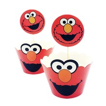 24pcs Cartoon Sesame Street theme Cupcake Wrappers Cake Toppers Happy Birthday Party Decoration Supplies Kids Baby Shower Favors(China)