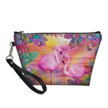 HaoYun PU Leather Cosmetic Bag Cartoon Flamingos Pattern Beautician Women Travel Make Up Necessaries Kawaii Pouch Toiletry Kit