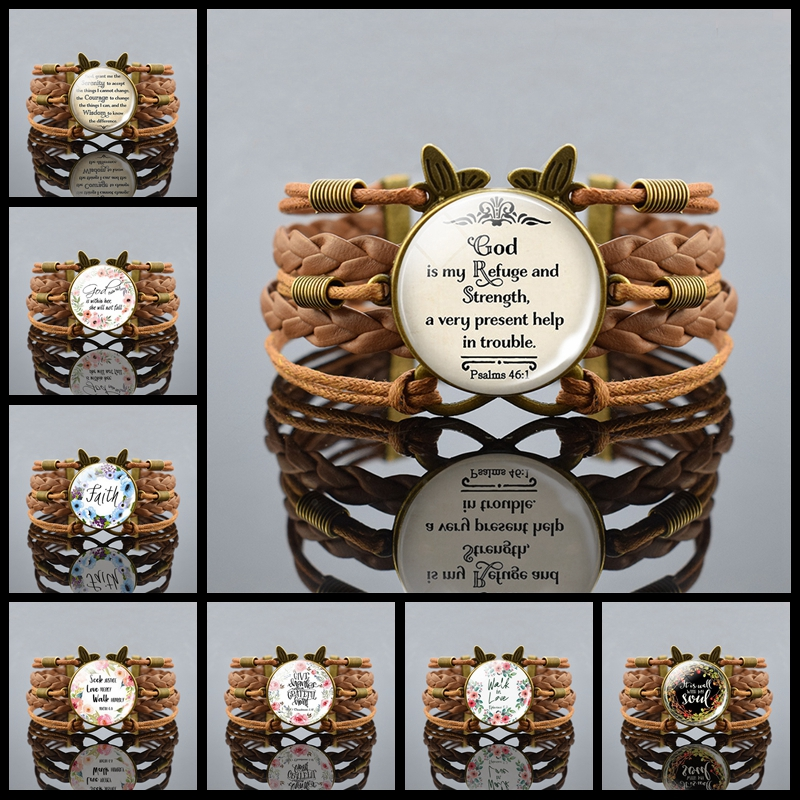 God Is My Refuge and Strength A Very Present Help In Trouble Bible Verse Bracelet Weaving Leather Bracelet Women Fashion Jewelry