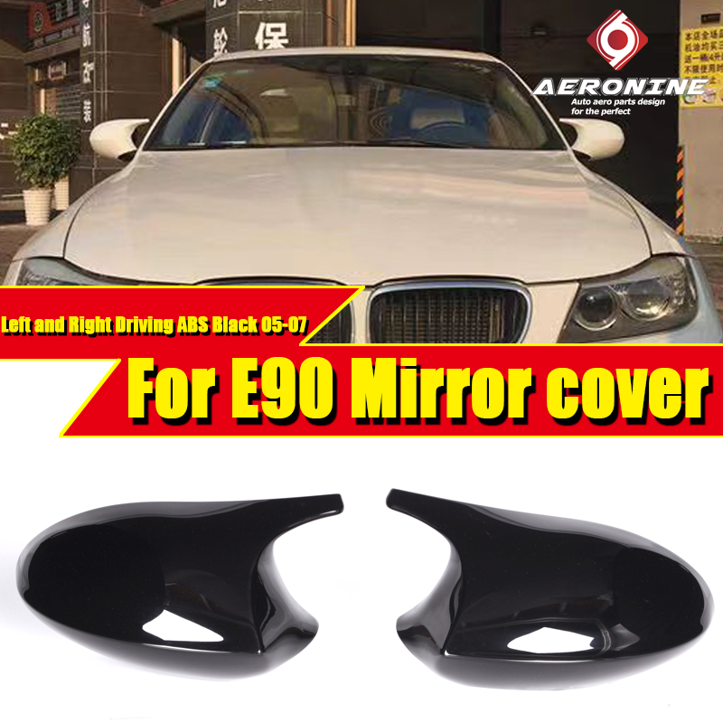 M3 Look Mirror Cover <font><b>Cap</b></font> Add on Style ABS Gloss Black For <font><b>BMW</b></font> <font><b>E90</b></font> 3 Series Sedan 1:1 Replacement 2-Pcs Side Mirror <font><b>Cap</b></font> 2005-2007 image