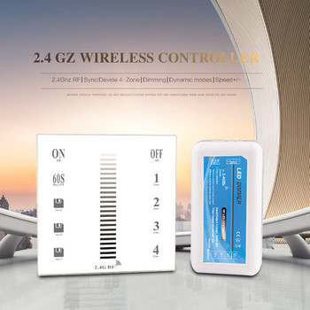 Touch Panel Sync Group LED Controller Dimmer DC 12V 24V Delay Off 2.4G RF Wireless Remote for Single Color Strips