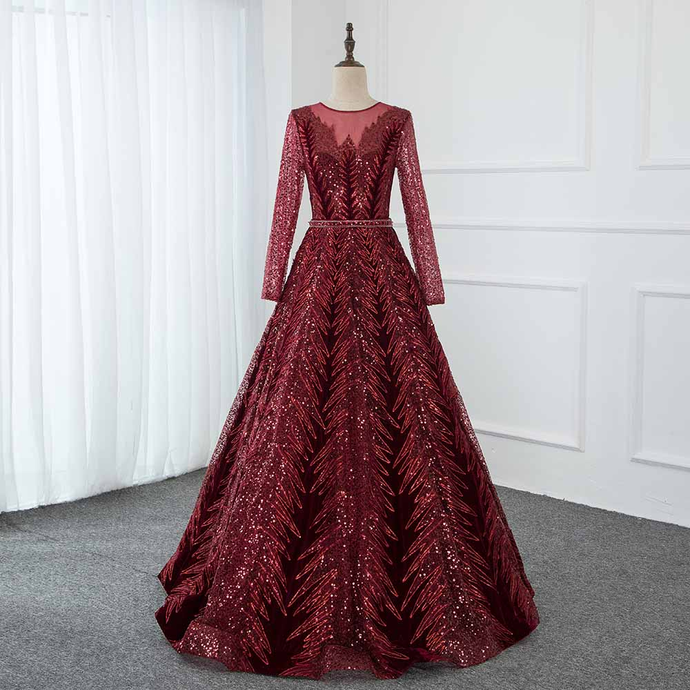 2020 Dubai Velvet Wine Red Evening Dresses Long Sleeves Elegant O Neck Evening Gowns Sequined Ball Gown