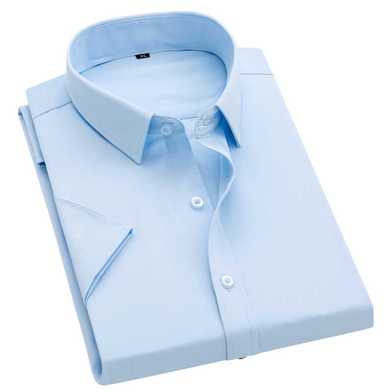 품질 여름 남자 셔츠 반팔 솔리드 능 직물 공식 비즈니스 화이트 Camisa Masculina 남자 사회 셔츠 4XL 5XL