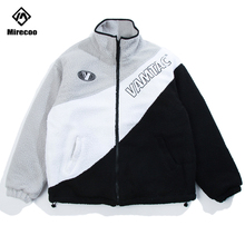 Mirecoo Winter Jacket Men Lamb Cashmere Thick Patchwork Windbreaker Fashion Coat Parka Streetwear