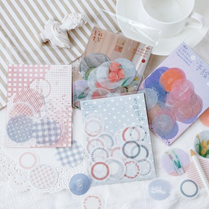 Mohamm 45sheets Pink Round Flower Kawaii Sticker School Supplies Stationery DIY Scrapbooking