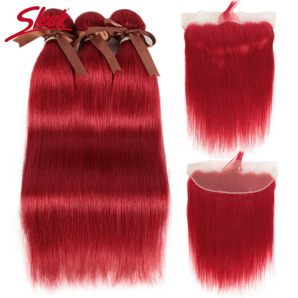 Sleek Red Brazilian Bundles With Frontal Straight Lace Frontal With Bundles 8-28 Remy Human Hair Weave 3 Bundles With Closure