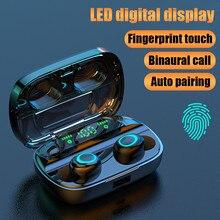 Беспроводные наушники Bluetooth 5,0, светодиодный дисплей, TWS, беспроводные bluetooth-наушники с сенсорным управлением, водонепроницаемая гарнитура с шумоподавлением