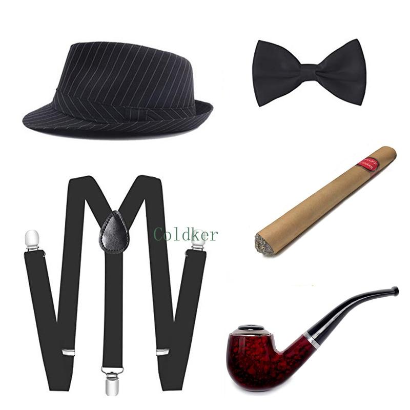 Cosplay Costumes 1920s Mens Gatsby Gangster Accessories Set Panama Hat Suspender Bow Tie Cigar Gentleman Pipe