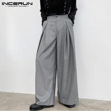 2021 hommes pantalon à jambes larges plaine Joggers bouton ample loisirs pantalon hommes Streetwear Chic décontracté pantalons Hombre S-5XL INCERUN