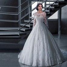 Arap desen Dubai zarif Vintage dantel beyaz topu cüppe şeklinde gelinlik kollu Robe De Mariage prenses gelin kıyafeti W0030