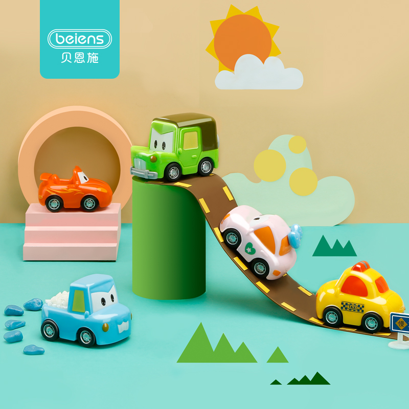 Beiens Baby Toy Car 5 In 1 Set Pull Back Car Toys For Children Racing Car Taxi Truck Toy Cartoon Model Mini Car Kids Toys Gifts