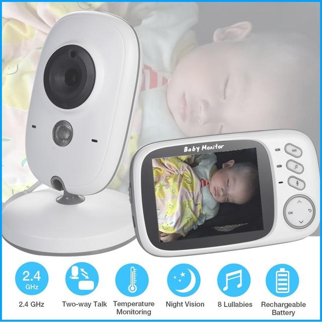새로운 VB603 3.2 인치 LCD 베이비 모니터 보모 온도 모니터링 자장가 2 웨이 오디오 IR 야간 보안 온도 카메라