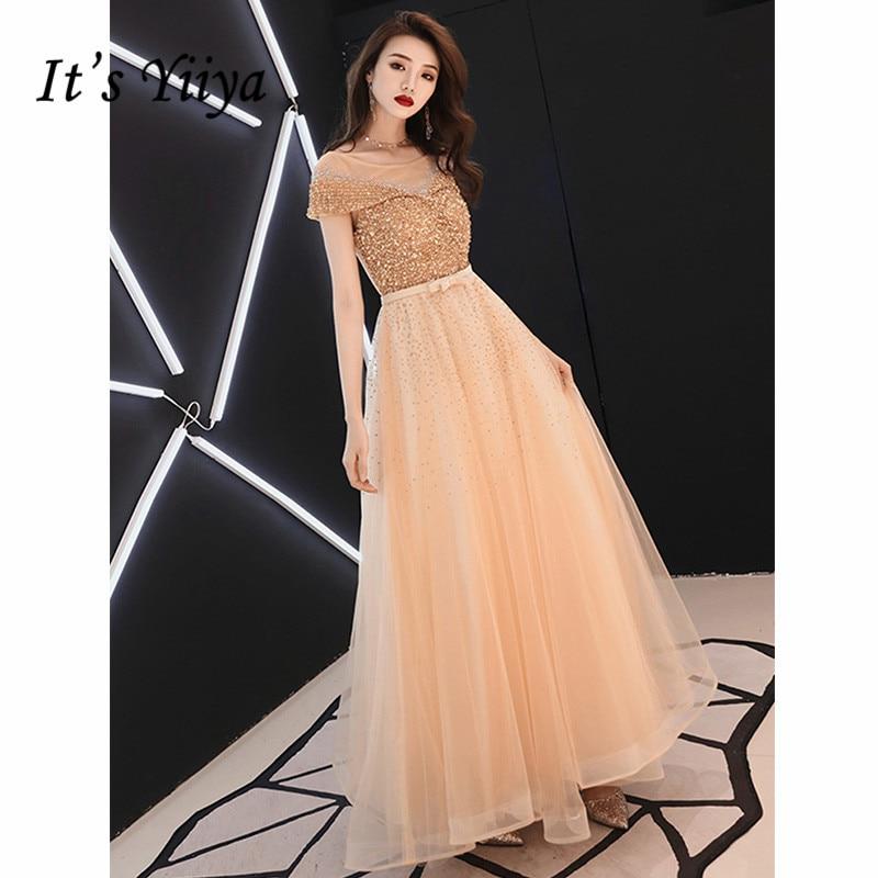 It's Yiiya Evening Dress 2019 Short Sleeve O-Neck Lace Up Party Long Dresses Sequins Elegant Robe De Soiree Plus Szie E1061