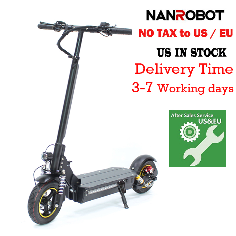 "NANROBOT D3 10"" 1000W Single Motor Adult Electric Scooter 48V 18AH Lithium Battery Foldable 43 Miles Long Range Speed 28 MPH"