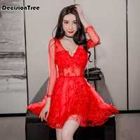 2020 chinese dress qipao sexy bodycon dress perspective Hollow carved lace vestidos nightclub dress party dress bandage dress