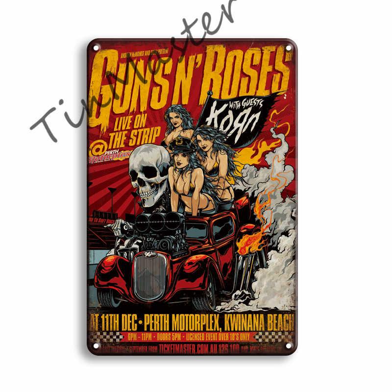 Pistolety R róże Rock N Roll metalowy plakat znak blaszany Vintage Johnny Cash Pub Bar strona główna znaki ścienne człowiek jaskinia dekoracja pokoju