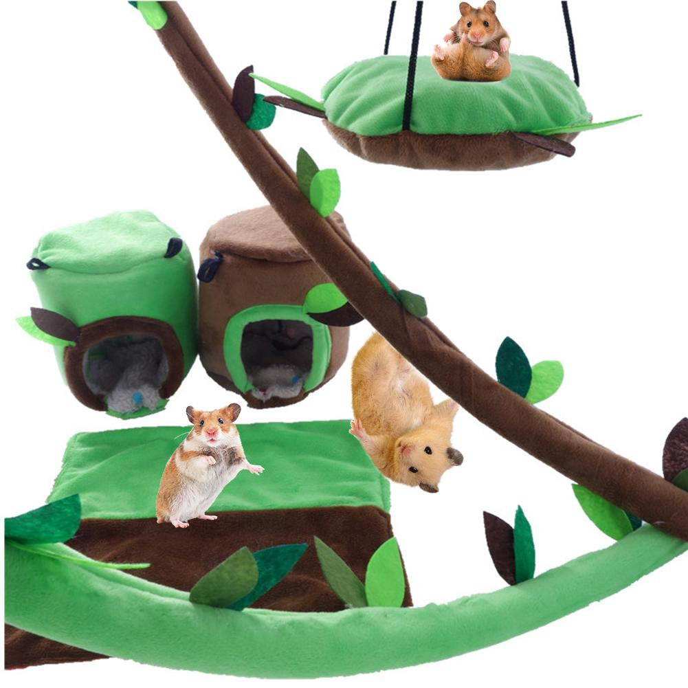 6pcs/lot Small Pet Toy Hamster Hammock Small Pet Stump Nest Forest Leaf Tunnel Totoro Guinea Pig Squirrel Warm Cage Toy House