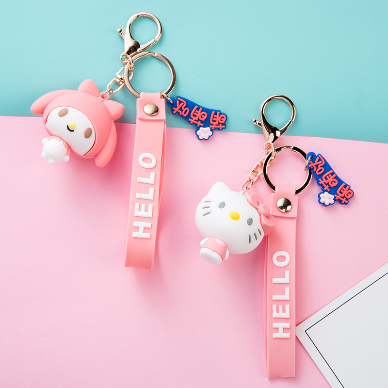 Cute Melody Doraemon Winnie Minnie Mickey Hello Kitty Keychain Keyring Lovely Women Men Bag Car Pendant Cartoon Doll Key Holder image