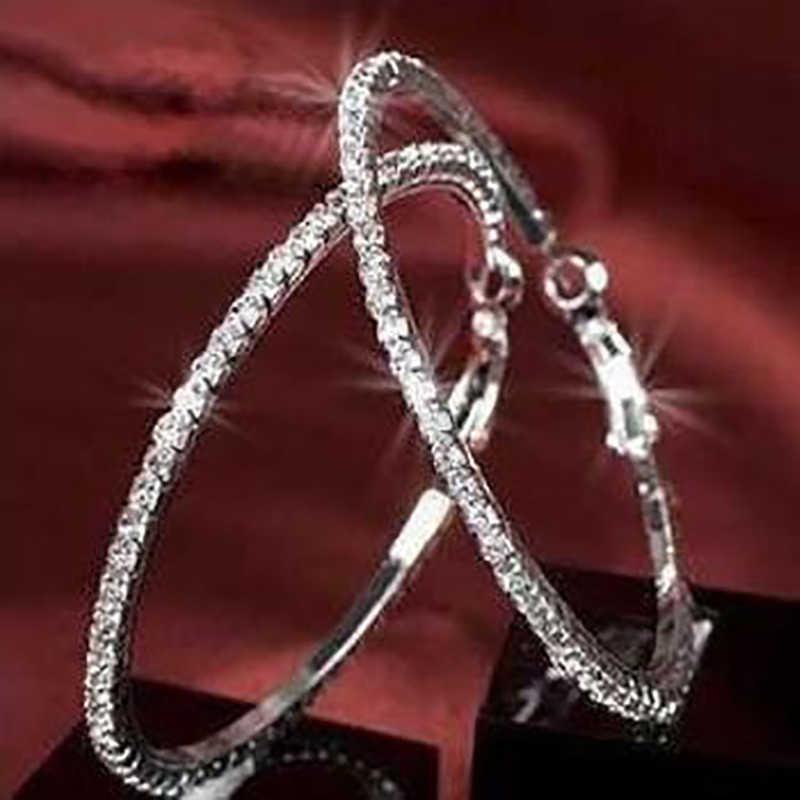 30-90 Mm Campuran Kristal Austria Batu 925 Sterling Silver Ring Lingkaran Anting-Anting Perhiasan Hadiah untuk Wanita Trendi Bijoux
