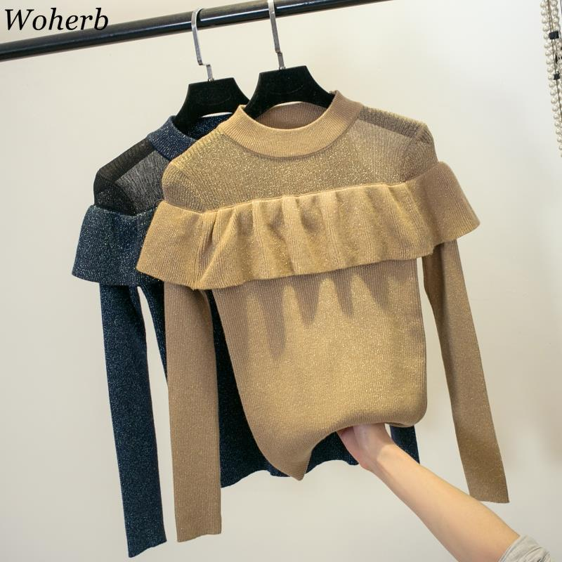 Woherb Korean New Sweater Women Ruffles O Neck Long Sleeve Bright Silk Pullovers See Through Patchwork Fashion Jumpers 91077