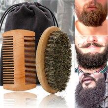 Brosse à barbe en bois, poils de sanglier doux de haute qualité, outil de rasage pour hommes, Kit de peigne à moustache avec sac cadeau