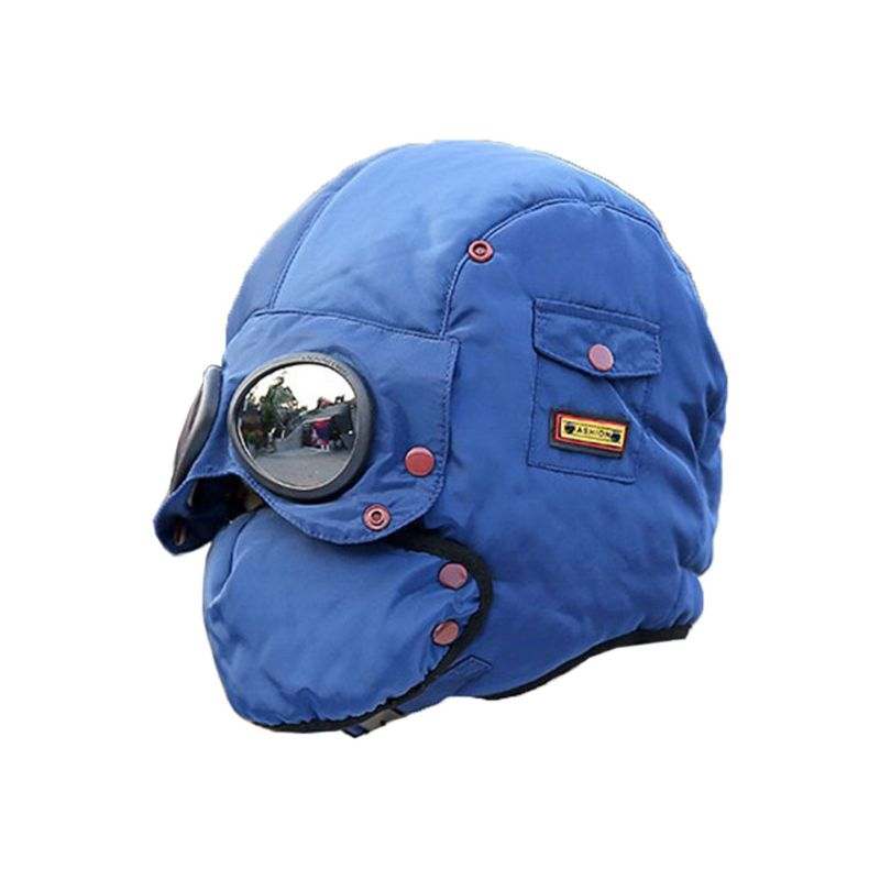 Thermal Winter Kids Trapper Hat with Glasses Windproof Warm Face Mask Ski Cap Outdoor Suitable for Children Aged 5 13|Cycling Face Mask| |  - title=