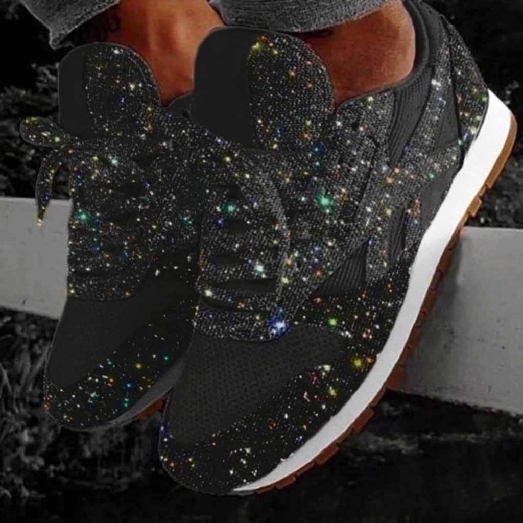 ฤดูหนาวรองเท้าแฟชั่นรองเท้าสตรีรองเท้าลำลอง Breathable คริสตัล Bling ลูกไม้ขึ้นกีฬารองเท้ารองเท้าผ้าใบอุ่นเดินป่า Snow BOOTS