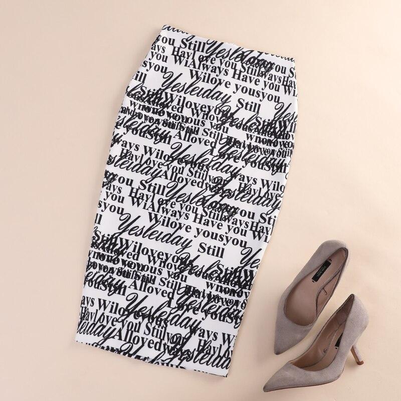 Autumn 2019 New Fashion Designer Female Elegant Alphabet Printed Bag Skirt Elastic Button Half-length