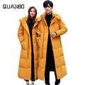 Мужская куртка-пуховик  длинная теплая куртка красного  желтого и черного цветов  для влюбленных  для зимы  4XL  2019