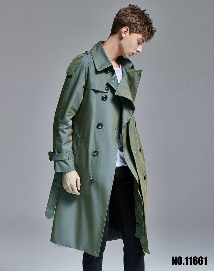 Trench couleur changeante hommes sur le genou long trench manteau hommes 2019 printemps automne britannique long manteau jeune! S 6XL - 2