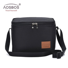 Aosbos przenośna termiczna torba na Lunch dla kobiet dzieci mężczyźni na ramię żywności chłodnica na piknik pudełka torby izolowane schowek na torbę pojemnik tanie tanio Poliester CN (pochodzenie) 2 osób A838010502EY 600D Polyester Aluminum EPE 24*17 5*17 5cm(L*W*H) 0 2kg Unisex black grey