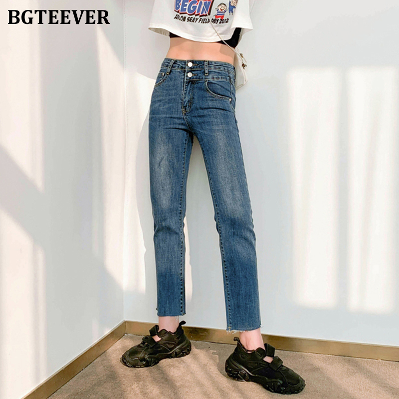 BGTEEVER Women High Waist Jeans Spring Loose Denim Jeans Pants Female Straight Denim Blue Pants Female Capris 2020