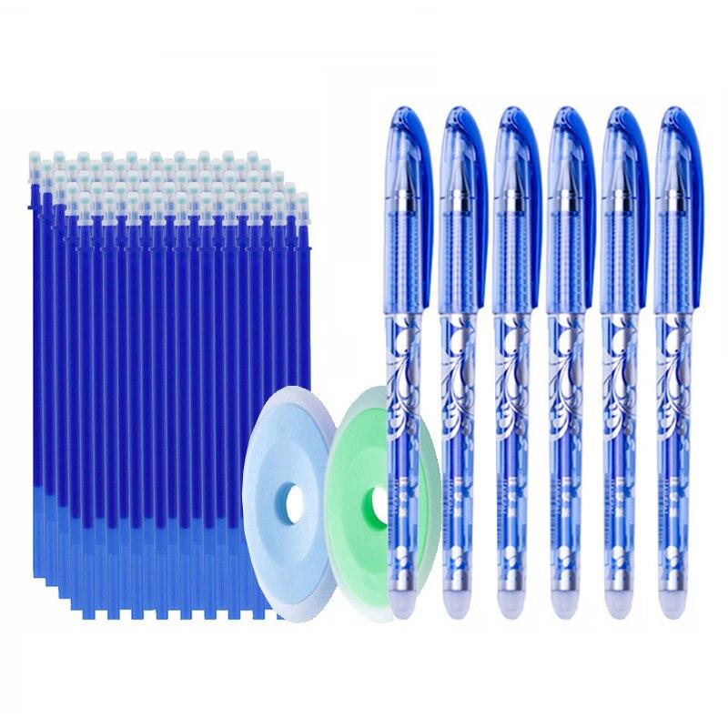 50 teile/los Löschbaren Gel Stift 0,5mm Büro Schule Löschbaren Stift Minen Waschbar Griff Farbige Löschbaren Tinte Stifte Schreiben Schreibwaren
