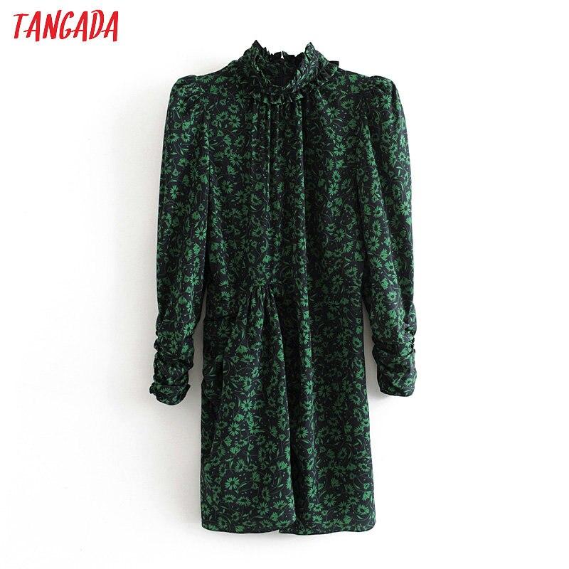 Tangada Fashion Women Flowers Print Turtleneck Slim Dress Pleated Sexy Long Sleeve Ladies Strethy Dress Vestidos 3H445