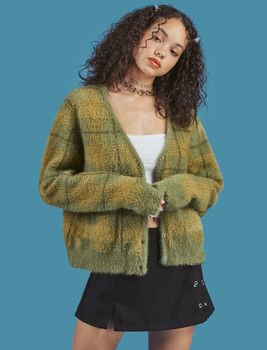 Vintage Synthetic Sweater Women Harajuku Lazy Style Ladies V-Neck Button Up Cropped Fuzzy Plaid Cardigan Knitted v neck belt button up waistcoat